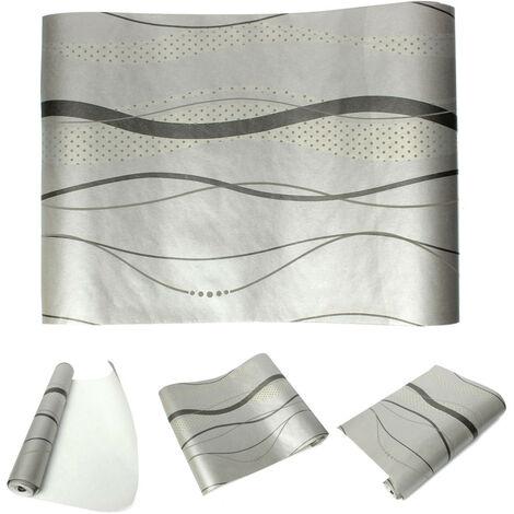 Papier Peint Mur 3D Courbe Stripe Tissu Non-tisse Decor Chambre 0.53x10m