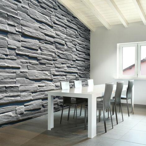 Papier peint - Mur de pierre grise 200x154