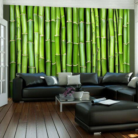 Papier peint - Mur vert bambou 200x154