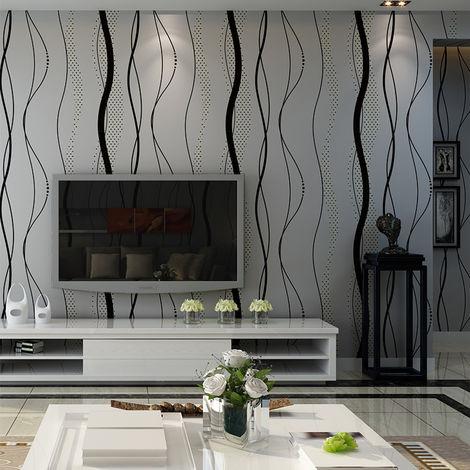 Papier Peint Murale Mur 3D Courbe Stripe Tissu Non-tissé Décor Chambre 0.53x10m