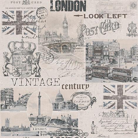 Papier peint original Tapisserie originale papier peint couloir Papier peint Beige / crème Marron Noir 952052 - 10,05 x 0,53 m