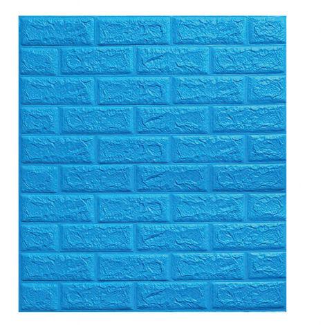 Papier Peint Panneau Autocollant Mural Brique 3D Auto-adhésif Mousse Imperméable Bleu 70*77cm