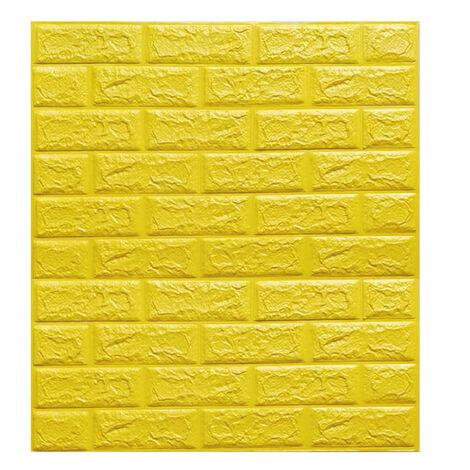 Papier Peint Panneau Autocollant Mural Brique 3D Auto-adhésif Mousse Imperméable Jaune 70*77cm