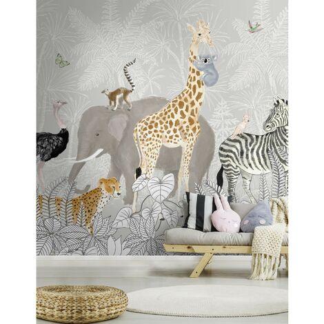 Papier peint panoramique Animaux de la Jungle 280 x 300cm Multicolore