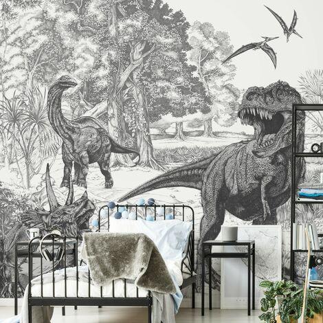 Papier peint panoramique Dinosaures en scène 280 x 300cm Noir, Blanc