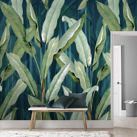 Papier peint panoramique Feuilles Été 280 x 200cm Vert, Bleu