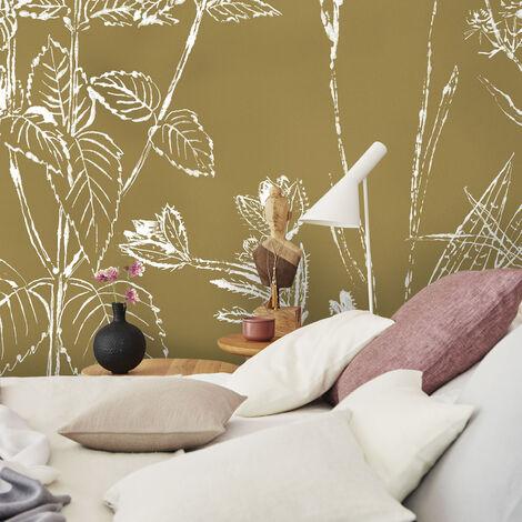 Papier peint panoramique Fleurs des champs 280 x 300cm Kaki