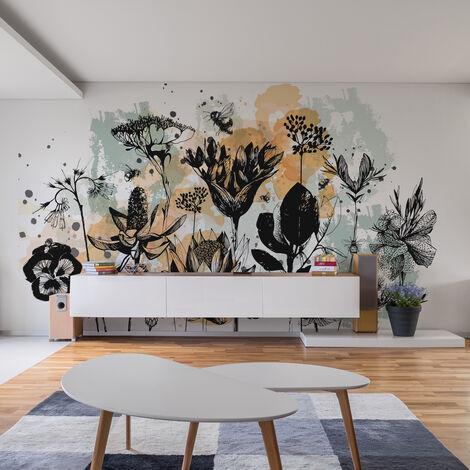 Papier peint panoramique Fleurs des Champs 340x250 - Noir et blanc