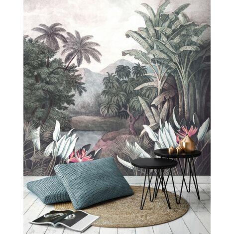 Papier peint panoramique Forêt Tropicale 280 x 300cm Multicolore