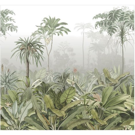 Papier peint panoramique intissé Brume tropicale d'un matin dans la Jungle 300 x 280cm Vert, Gris