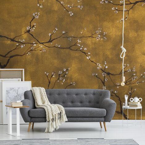 Papier peint panoramique intissé Cerisiers japonais 300 x 280cm Or