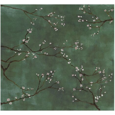 Papier peint panoramique intissé Cerisiers japonais 300 x 280cm Vert