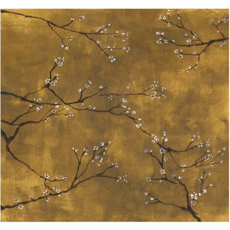 Papier Peint Panoramique Intissé Chinoiseries Or Ocre 300 X 280 Cm