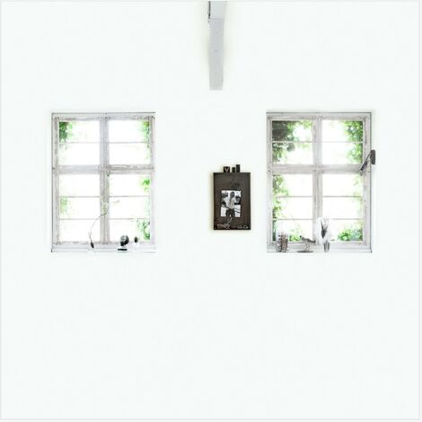 Papier peint panoramique intissé Fenêtres en trompe-l'oeil 300 x 300cm Blanc, Gris