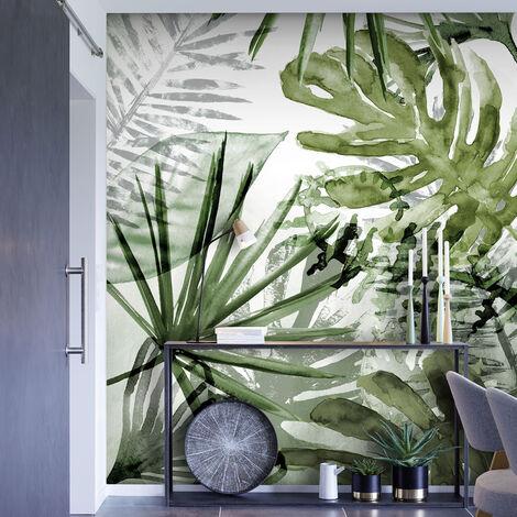 Papier peint panoramique intissé Feuillage exubérant 200 x 280cm Vert, Blanc