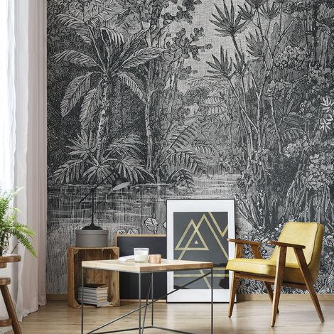 Papier Peint Panoramique Intissé Jungle Gris 200 X 280 Cm