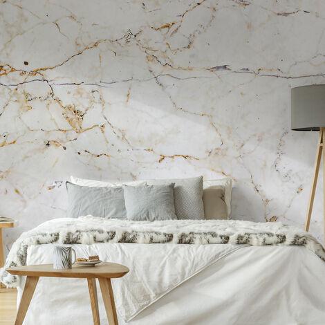 Papier peint panoramique intissé Marbre de Milan 300 x 300cm Ecru, Ocre, Gris