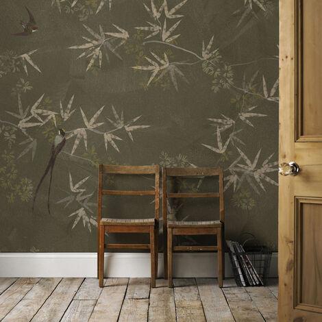 Papier peint panoramique intissé Oiseaux du Paradis 200 x 280cm Vert