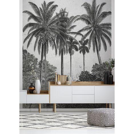 Papier peint panoramique intissé Palmiers Gravure 300 x 200cm Gris, Noir
