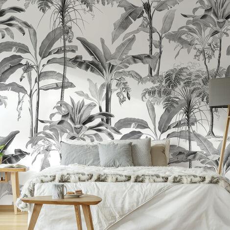 Papier peint panoramique intissé Palmiers Milou 300 x 280cm Noir, Blanc