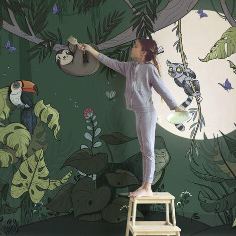 Papier peint panoramique Jungle couleurs 340x250 - Multicolore