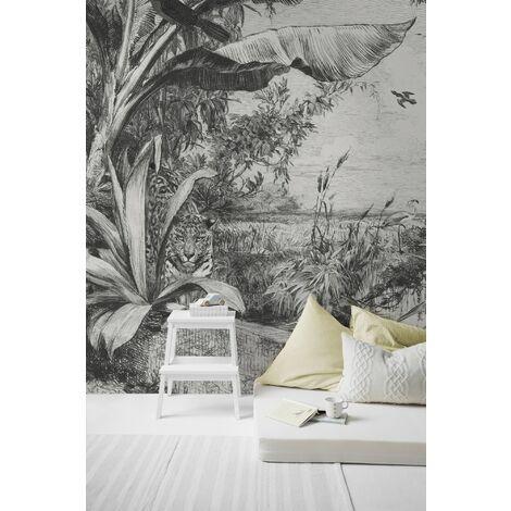 Papier peint panoramique Jungle sauvage 280 x 250cm Noir, Blanc
