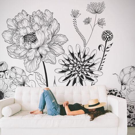 Papier peint panoramique Kahli 340x250 - Noir et blanc