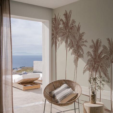 Papier peint panoramique Palmiers 255x250 - Brun