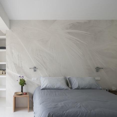 Papier peint panoramique Plumes 425x250 - Gris