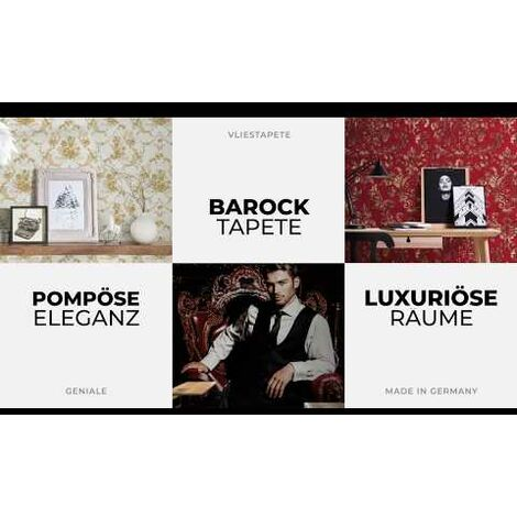 Papier peint papier 310347 Concerto 3 - Papier peint baroque Argent Noir/Anthracite Blanc - 10,05 x 0,53 m