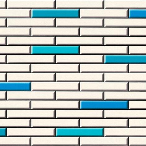 Papier peint papier 342782 Il Decoro - Papier peint brique & pierre Beige/Crème Bleu Noir/Anthracite - 10,05 x 0,53 m