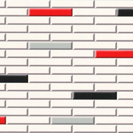 Papier peint papier 342783 Il Decoro - Papier peint brique & pierre Beige/Crème Rouge Noir/Anthracite - 10,05 x 0,53 m
