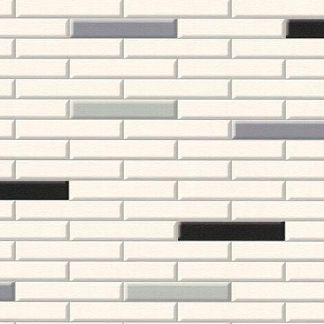 Papier peint papier 342784 Il Decoro - Papier peint brique & pierre Beige/Crème Gris Noir/Anthracite - 10,05 x 0,53 m