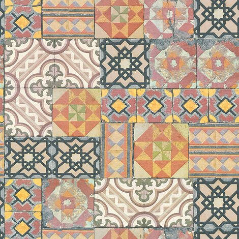 Papier peint papier 343001 Il Decoro - Papier peint carreaux de ciment & carrelage Multicolore Argent - 10,05 x 0,53 m