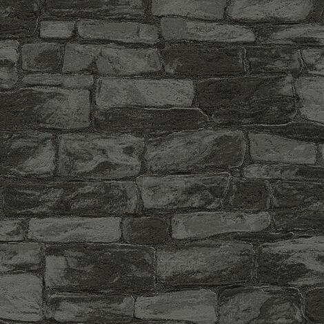 Papier peint papier 343819 Styleguide Natürlich - Papier peint brique & pierre Gris Argent Noir/Anthracite - 10,05 x 0,53 m