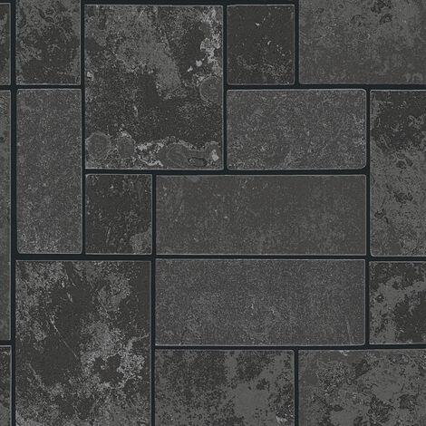 Papier peint papier 347793 Il Decoro - Papier peint brique & pierre Argent Noir/Anthracite - 10,05 x 0,53 m