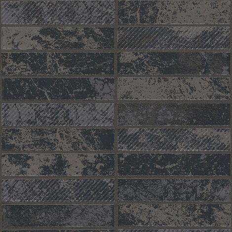 Papier peint papier 348184 Il Decoro - Papier peint brique & pierre Argent Noir/Anthracite - 10,05 x 0,53 m