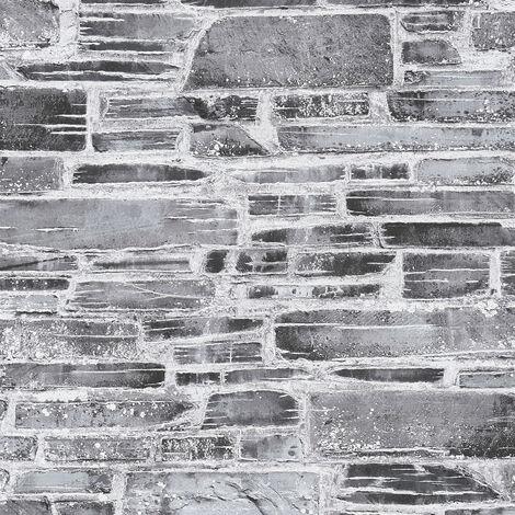 Papier peint papier 364591 Il Decoro - Papier peint brique & pierre Gris Noir/Anthracite - 10,05 x 0,53 m