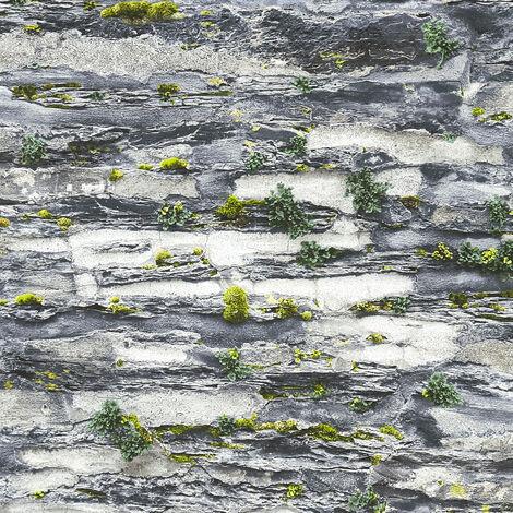 Papier peint papier 364921 Il Decoro - Papier peint brique & pierre Gris Noir/Anthracite - 10,05 x 0,53 m