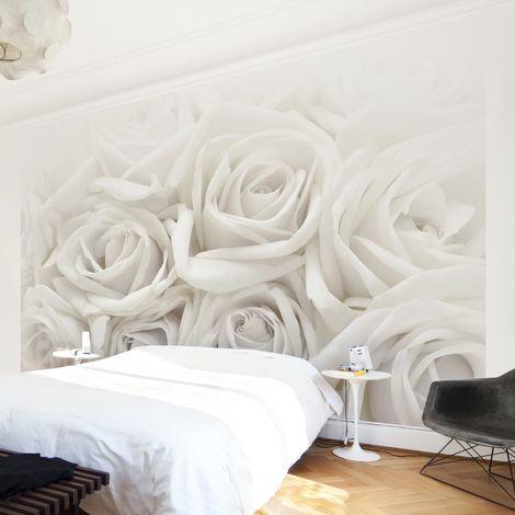 Papier peint photo adhésif Photo Wall Mural White Roses