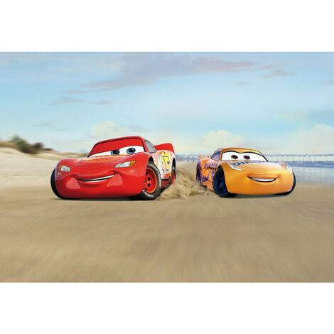 Papier Peint Photo Cars 3 Disney Flash Mc Queen et Cruz Ramirez course sur la plage 368cm x 254cm