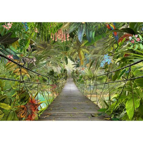 Papier Peint Photo Murale Pont dans la Jungle 368x254 CM