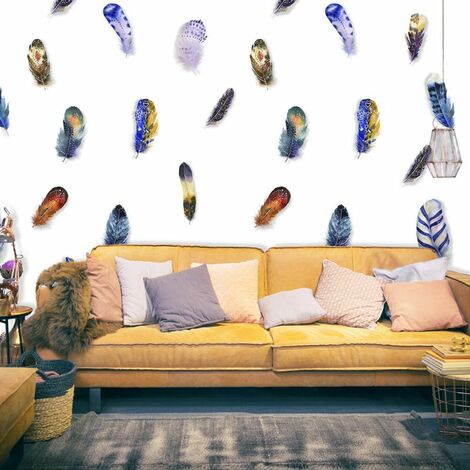 Papier peint - Plumes colorées .Taille : 50x1000
