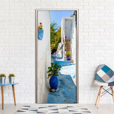 Papier-peint pour porte - Blue Alley