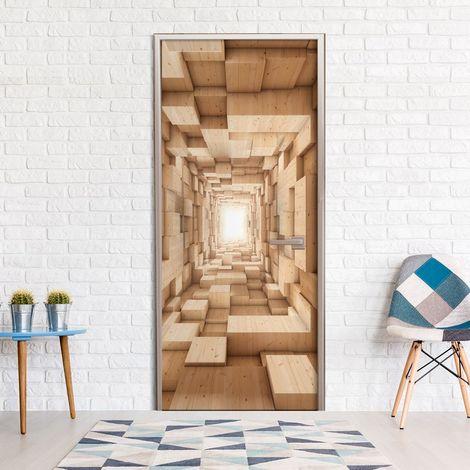 Papier-peint pour porte - Wooden Tunnel