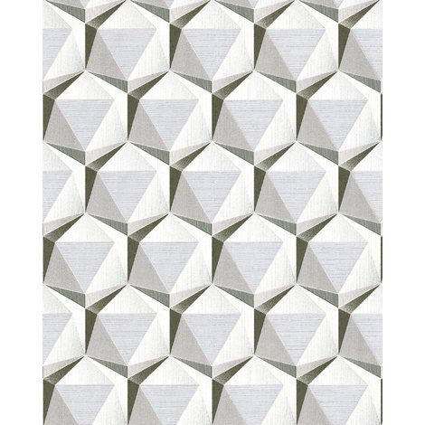 Papier peint rétro EDEM 1050-10 papier peint vinyle légèrement texturé avec des figures géométriques subtilement scintillant crème gris-beige platine blanc 5,33 m2