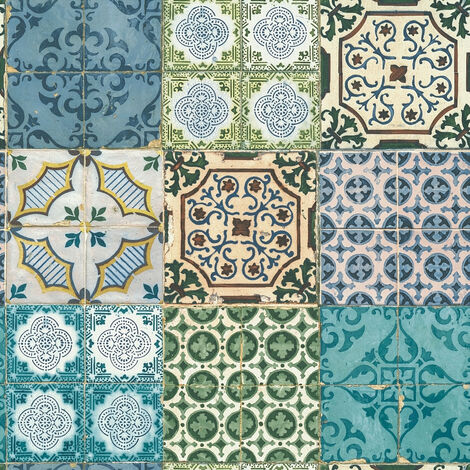 Papier peint rétro Papier peint cuisine Papier peint intissé Bleu Jaune Vert 364851 - 10,05 x 0,53 m