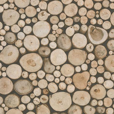 Papier peint rondin de bois   Papier peint entrée avec escalier & salon   Papier peint beige & marron en ligne958361 - 10,05 x 0,53 m