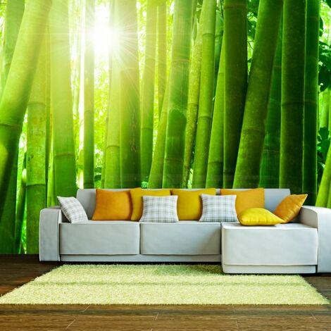 Papier peint - Soleil et bambou .Taille : 200x154
