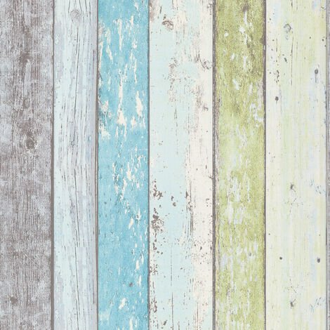 Papier peint style bois | Papier peint turquoise, blanc & vert | Papier peint bord de mer | Papier peint salle de bain & chambre ado855077 - 10,05 x 0,53 m